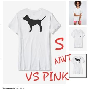 S NWT VS PINK.WHT/BLK DOG CAMPUS CREW POCKET T SS